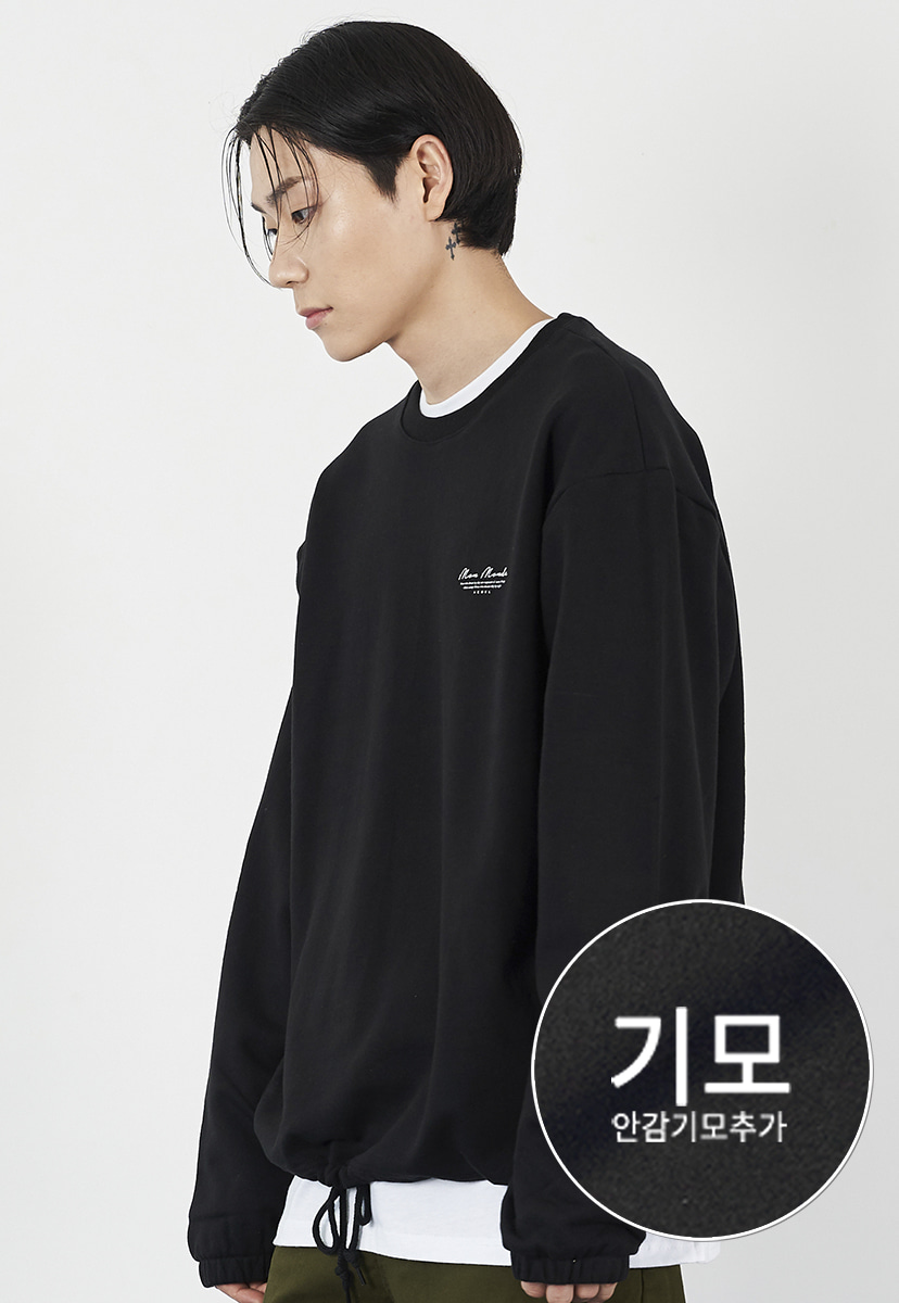 [크럼프] Crump drawstring cursive crewneck (CT0225g)